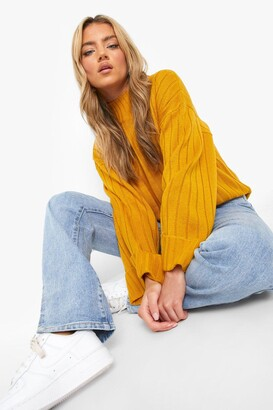 boohoo Maxi Wide Sleeve Wide Rib Jumper