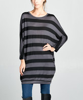 Love, Kuza Women's Sweater Dresses Black/Charcoal - Black & Charcoal Stripe Button-Back Dolman Sweater Dress - Women