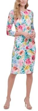 Kensie Long-Sleeve Floral-Print Dress