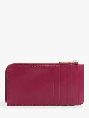 John Lewis & Partners Landan Leather Long Coin & Card Purse, Cerise