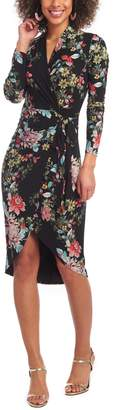 Rachel Roy Floral Faux Wrap Long Sleeve Dress