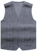 Cityelf Men's V-Neck Diamond Wool Knitted Casual Sweater Cardigan Vest MJM0011