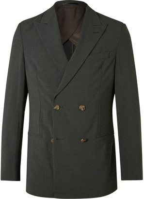 Nanushka Darwin Unstructured Double-Breasted Checked Seersucker Suit Jacket - Men - Green