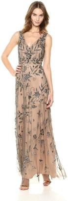 Adrianna Papell Women's V-Neck Fully Beaded Long Dress
