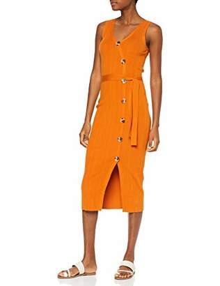 Warehouse Women's Button Detail Multi Rib Wrap Dress,(Size:)