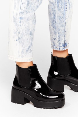 Nasty Gal Womens Your Place or Shine Faux Leather Chelsea Boots - Black - 3