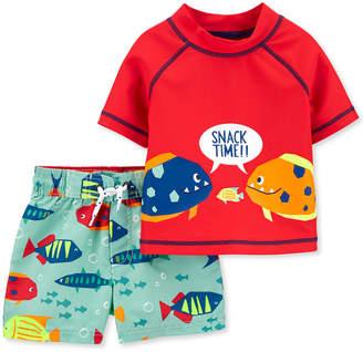 Carter's Carter Baby Boys 2-Pc. Upf 50+ Fish Rash Guard & Board Shorts Set