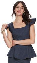 Elle Women's ELLETM Flutter Peplum Top