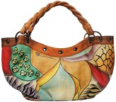 Anuschka Hand-Painted Leather Braided Handle Large Ruched Hobo Bag