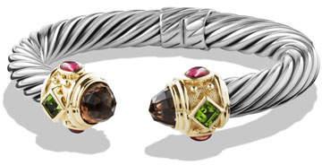 David Yurman Renaissance Bracelet with Smoky Quartz, Peridot, Pink Tourmaline, and Gold