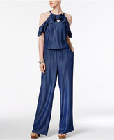 INC International Concepts Petite Denim Ruffled Cold-Shoulder Jumpsuit, Only at Macy's