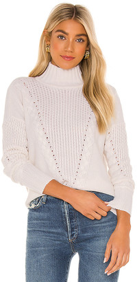 Autumn Cashmere 8 Ply Mock With Honeycomb & Cable Yoke Sweater