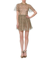Valentino Star-Embroidered Tulle Net Shirtdress, Gold