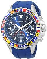 Nautica Men's 'NST 1000 FLAGS' Quartz Stainless Steel and Silicone Casual Watch, Color:Blue (Model: NAD19562G)