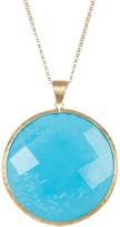 Rivka Friedman Satin 18K Gold Clad Faceted Magnesite Round Pendant Necklace