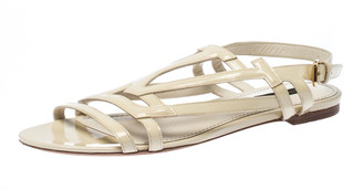 Louis Vuitton Cream Patent Leather Crossing Logo Flat Sandals Size 40