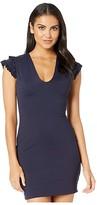 Susana Monaco Structured Ruffle Cap Sleeve Plunge Dress (Pine Needle) Women's Dress