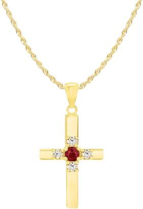 Savvy Cie 14K Gold Plated Sterling Silver Ruby & White Topaz Cross Pendant Necklace