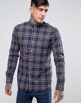 Farah Shirt In Tartan Cotton Slim Fit Navy