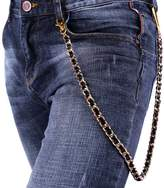 U7 Men Pants Chain Punk Leather Braided in 18K Gold Plated Cuban Chain Trousers Jeans Chain Key Chain Accessories