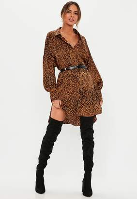 Missguided Rust Leopard Print Drop Back Super Oversized Shirt Dress