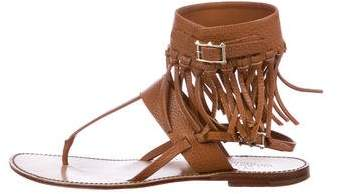 Valentino Leather Fringe Sandals