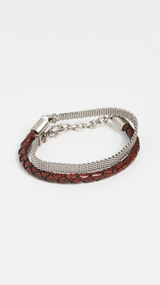 The Monotype The Derek Vegan Leather and Mesh Chain Bracelet