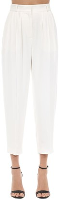 Alexander McQueen Cigarette Leaf Pleated Crepe Pants