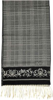 Versace Grey Wool Scarves