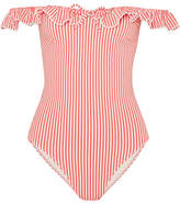 Solid & Striped The Amelia Off-the-shoulder Ruffle-trimmed Seersucker Swimsuit - Red