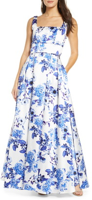 Sequin Hearts Floral Print Pleated Mikado Gown