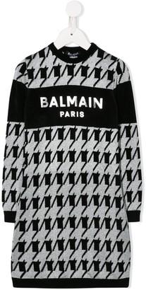 Balmain Kids Logo Embroidered Jumper Dress