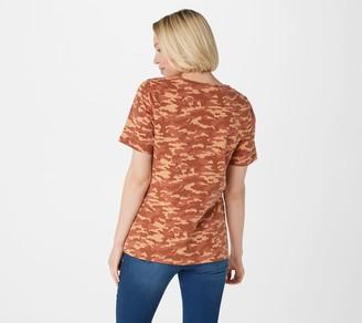 Denim & Co. Active Camo Print Short Sleeve Scoop Neck Top