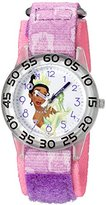 Disney Girl's 'Tiana' Quartz Plastic and Nylon Automatic Watch, Color:Purple (Model: W002978)