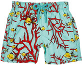 Vilebrequin Coral- & Fish-Print Swim Trunks-LIGHT BLUE, RED, YELLOW