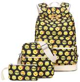 Tibes Cute Canvas Backpack Funny Emoji Backpack for Girls Yellow