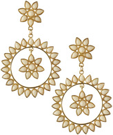 Amrita Singh Floral Hoop Earrings, White Jade