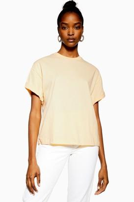 Topshop Womens Tall Buttermilk Boxy Roll Sleeved T-Shirt - Buttermilk