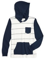 RVCA Boy's 'Set Up' Contrast Trim Long Sleeve Hooded Shirt