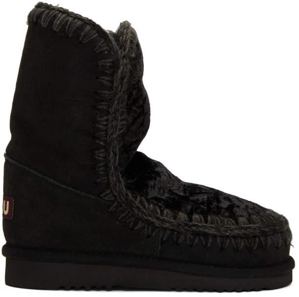 Mou Black Velvet Eskimo 24 Boots