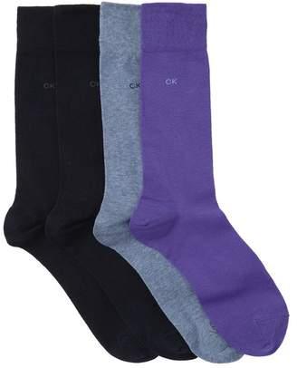 Calvin Klein Flat Knit Crew Socks - Pack of 4