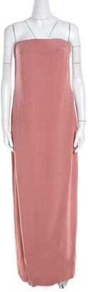 Escada Litchi Pink Silk Asymmetric Hem Strapless Gunn Evening Gown M