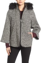 Betsey Johnson Women's Coat With Faux Fur Trim