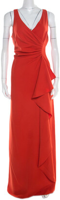 Armani Collezioni Red Ruched Sleeveless Maxi Dress L