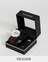 Sekonda Brown Skeleton Leather Watch & Cufflinks Gift Set