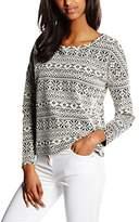 Benetton Women's Printed Boat Neck Long Sleeve Sweatshirt