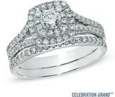 Zales Celebration Grand® 1 CT. T.W. Diamond Frame Bridal Set in 14K White Gold (H-I/I1)