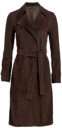 Theory Oaklane Suede Trench Coat
