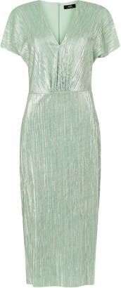 Wallis Mint Metallic Textured Midi Dress