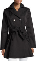 Laundry by Shelli Segal Cotton-Blend Fit-and-Flare Trench Coat, Black